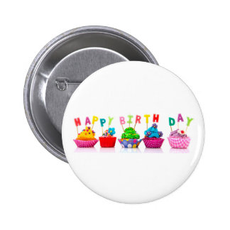 Happy Birthday Cupcakes - Button