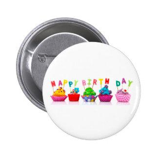 Happy Birthday Cupcakes - Button