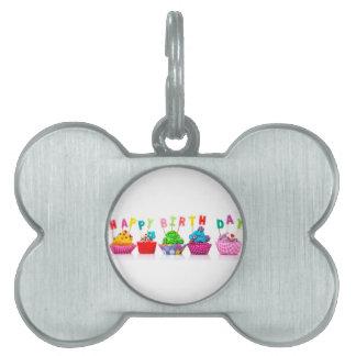 Happy Birthday Cupcakes Pet Tag