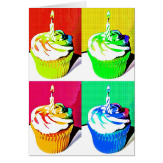 Happy Birthday Cupcakes Pop Art Greeting Card