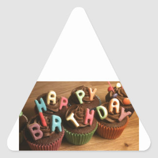 Happy Birthday Cupcakes Triangle Sticker