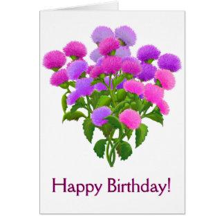 Happy Birthday Customizable Thistle Bouquet Card