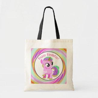 Happy Birthday customizable unicorn gift tote bag
