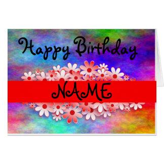 Happy Birthday Customize Name Card