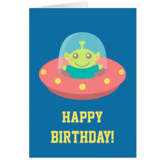 Happy Birthday, Cute Alien in Spacecraft Card