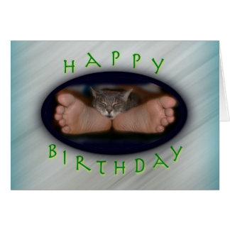 Happy Birthday cute cat on feet Cassie Feet Card