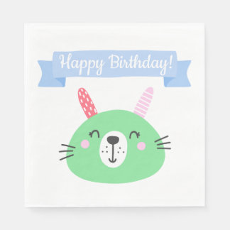 Happy Birthday! | Cute Green Bunny Kids Birthday Paper Napkins