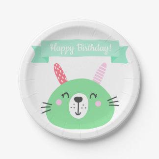 Happy Birthday! | Cute Green Bunny Kids Birthday Paper Plate