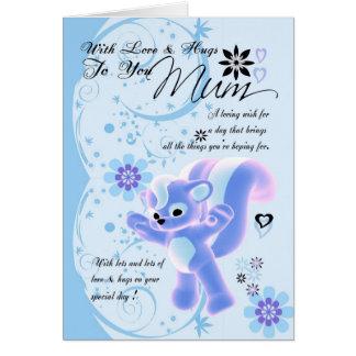Happy Birthday Cute Mum Card blue flowers cute