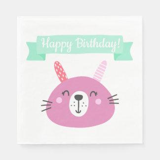 Happy Birthday! | Cute Pink Bunny Kids Birthday Paper Napkin