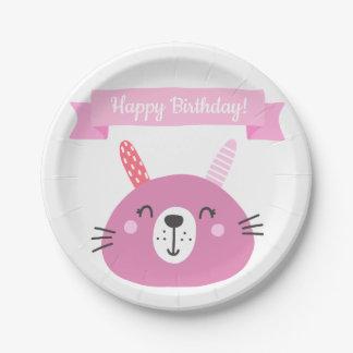 Happy Birthday! | Cute Pink Bunny Kids Birthday Paper Plate