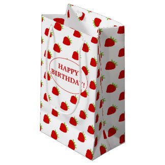 Happy Birthday! | Cute Strawberry Pattern Small Gift Bag