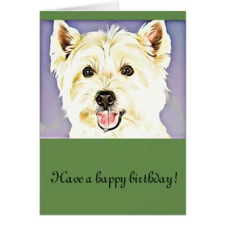 """""""Happy birthday""""Cute west highland terrier Card"""