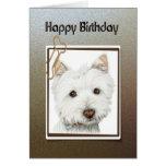 Happy birthday, cute westie dog greeting card