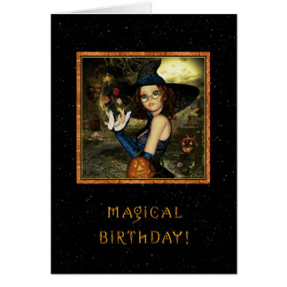 Happy Birthday - Cute Witch Star Sky Card