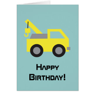 Happy Birthday, Cute Yellow Vehicle for kids Greeting Card