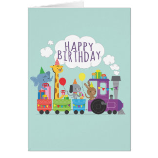 Happy birthday cute zoo animals parade on train card
