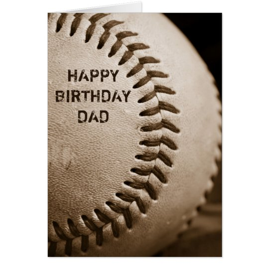 Happy Birthday Dad Baseball Greeting Card