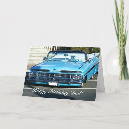 Happy Birthday Dad Classic Blue Car Greeting Card Happy Birthday Dad