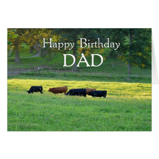Happy Birthday DAD-Cows in pasture. Card