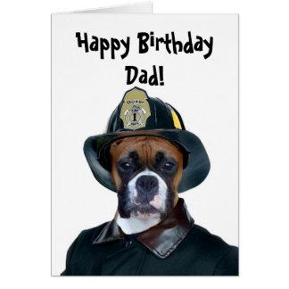 Happy Birthday dad Fireman boxer greeting card
