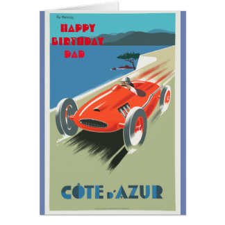 Happy Birthday Dad Vintage Racing Car Card