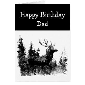 Happy Birthday Dad Vintage Stag, Deer Animal Card