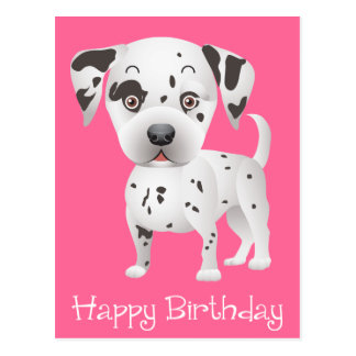 Happy Birthday Dalmatian Puppy Dog Pink Postcard