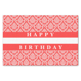 Happy Birthday Damask in Peach and White Tissue Paper