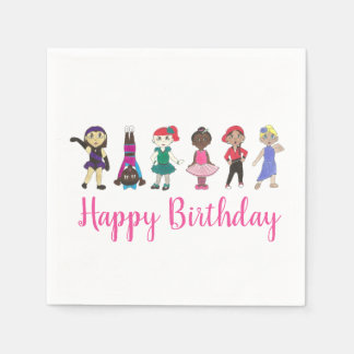 Happy Birthday Dance Themed Party Ballet Tap Jazz Disposable Napkin