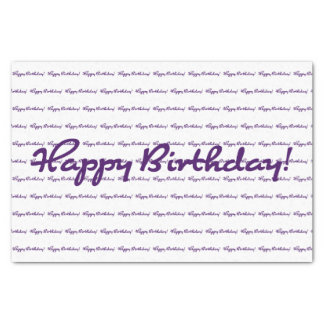 Happy Birthday! Dark Purple Casual Script Tissue Paper