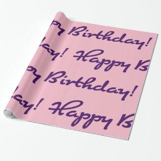 Happy Birthday! Dark Purple Casual Script Wrapping Paper