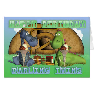 Happy Birthday Darling Twins, pair of cute dragons Greeting Card