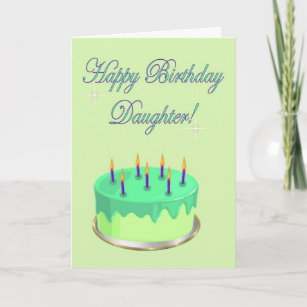 Happy Birthday Daughter Cake Wishes Card