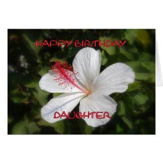 Happy Birthday Daughter White Hibiscus Card