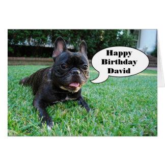 Happy Birthday David French Bulldog Card