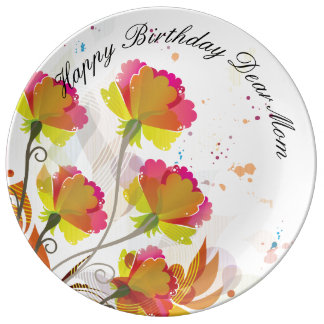 Happy Birthday Dear Mom Porcelain Plate