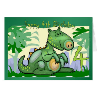 Happy Birthday Dinosaur Card 4th Birthday