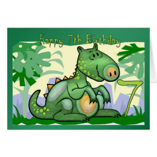 Happy Birthday Dinosaur Card 7th Birthday