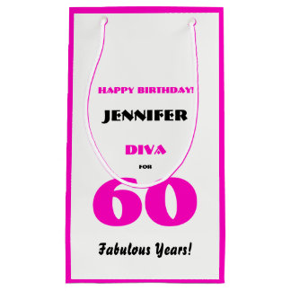 Happy Birthday Diva 60 Fabulous Years Hot Pink Small Gift Bag