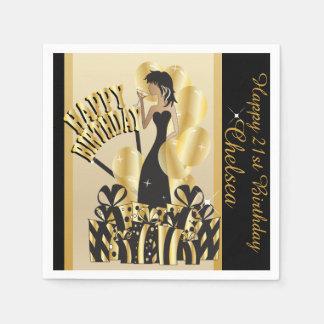 Happy Birthday Diva Girl | DIY Name | Gold Paper Napkins