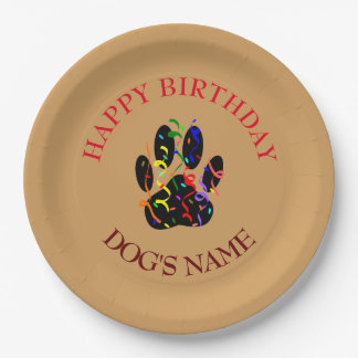Happy Birthday Dog Paw Confetti Paper Plate