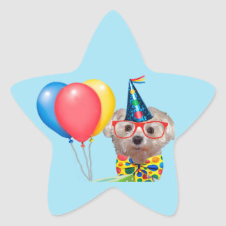 Happy Birthday Dog Star Sticker