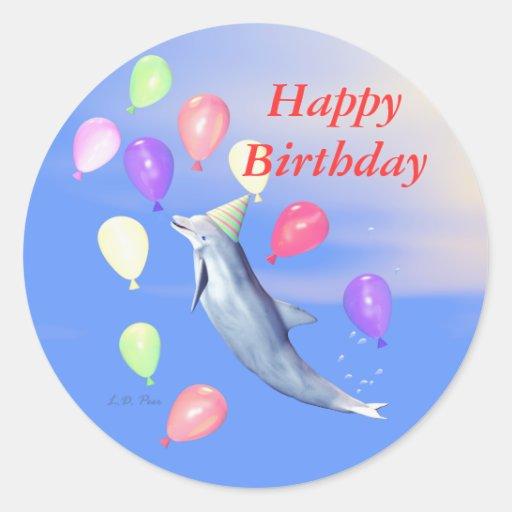 Happy Birthday Dolphin Classic Round Sticker | Zazzle