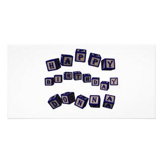 Happy Birthday Donna toy blocks in blue. Customized Photo Card
