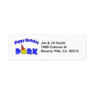 Happy Birthday Dork Party Hat Return Address Label