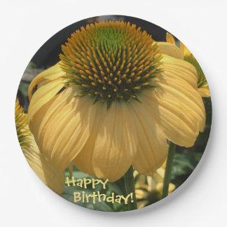 Happy Birthday Echinacea Paper Plate