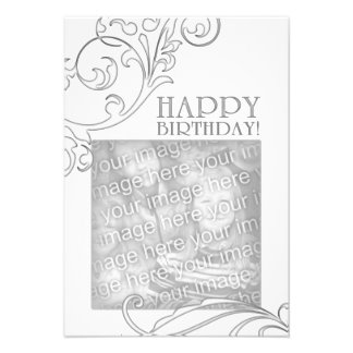 "happy birthday (elegant flourish) 3.5"" x 5"" invitation card"