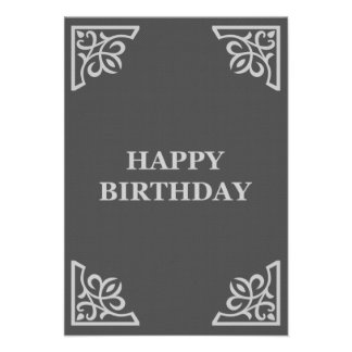"""happy birthday (elegantGreys) 3.5"""" X 5"""" Invitation Card"""