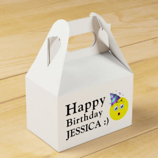 Happy Birthday Emoji Custom Name Favor Box